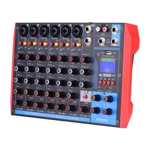 ammoon AG-8 Consola mezcladora portátil de 8 canales Mezclador de audio digital + 48V Phantom Power Admite conexión BT / USB / MP3 para grabación de música DJ Network Live Broadcast Karaoke