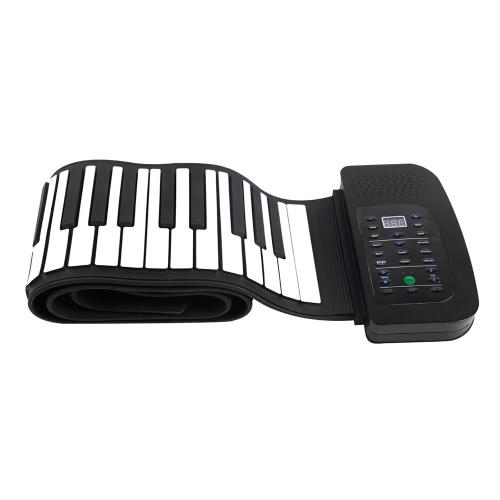 Piano portatile 88 tasti in silicone flessibile rotola in su Piano tastiera pieghevole a mano a rotazione con batteria Sustain Pedal