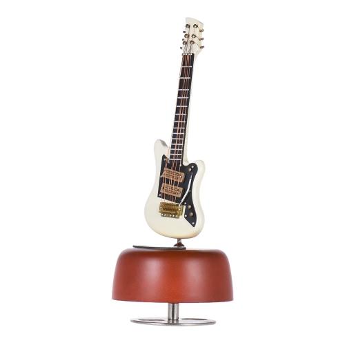 誕生日/バレンタイン/母の日/父の日のギフトのためのケースでクラシック風アップホワイトエレクトリックギターオルゴール回転楽器ベース音源ミニチュアレプリカ工芸品