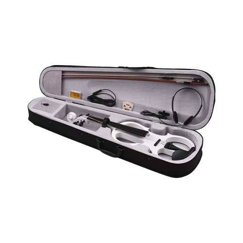Volle Größe 4/4 Basswood Elektrische Violine Geige Ebonized Armaturen mit Kopfhöreranschluss Kabel Kolophonium Tragetasche