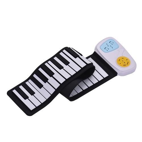 Portable 49-Key Silicon clavier électronique Roll-Up Piano haut-parleur intégré avec bande dessinée autocollant pour enfants enfants