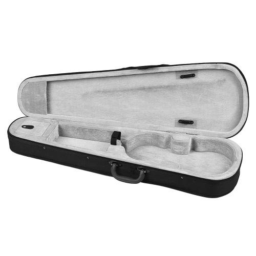 Professional 1/4 Violin Triangle Shape Case Box Hard & Super Light with Shoulder Straps Beige