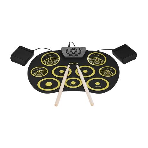 Bild von Tragbare elektronische Drum Set Roll Up Drum Kit 9 Silikon Pads USB Powered mit Fuß Pedale Drumsticks USB Kabel für Studenten Kids