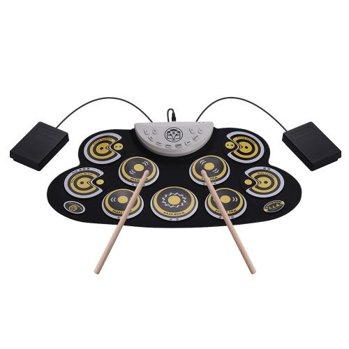 Портативная силиконовая барабанная подушка с электронным барабаном