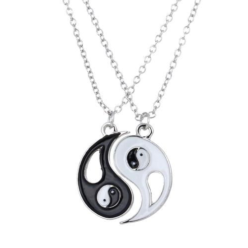 Conjunto de 2 piezas ocho trigramas colgantes collares con langosta corchete de la joyería fina personalizada regalo para amigos/amante de 45cm
