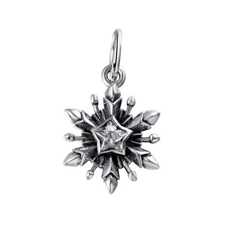 Grano de plata copo de nieve cuelgan pendiente encanto de Romacci S925 con diamante CZ para 3mm pulsera brazalete DIY moda mujer joyas accesorios año nuevo regalo