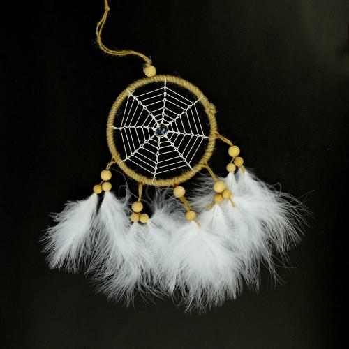 Charm Wind Chimes Czyste ręcznie robione pióra Dream Catcher Pendant z okrągłym netto