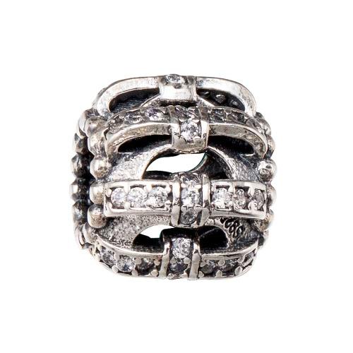Romacci S925 plata en forma de corazón perla electrochapado con rosa roja doble CZ diamante se ajusta a 3mm Lucky Charm pulsera DIY mujeres finas joyas regalo