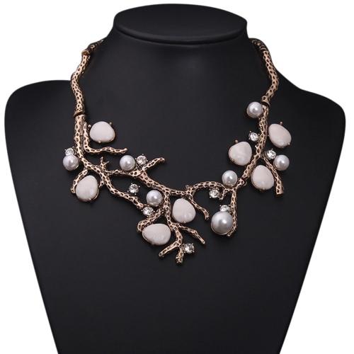 Moda lujo Rhinestone cristal simulado perlas perlas piedra árbol rama collar cadena para mujeres chica novia de boda