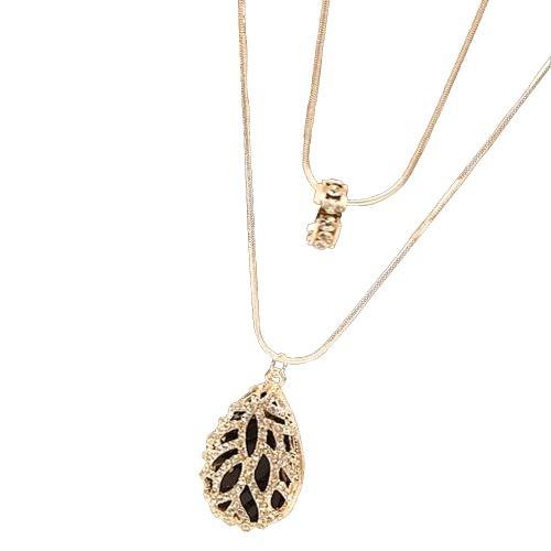 Mode Strass Crystal Ring hohl Wasser Tropfen Anhänger vielschichtig Halskette doppelt lange Pullover Kette Schmuck für Frauen Mädchen