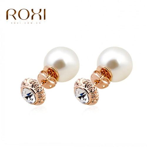 ROXI Fashion Rhinestone simulado Stud pérola brinco Rose ouro chapeado jóias de casamento para mulheres menina