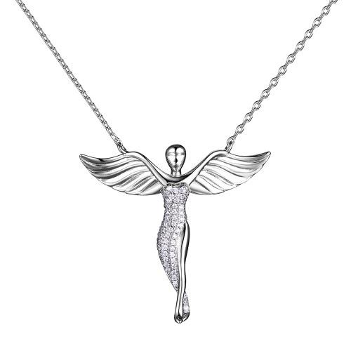 JURE S925 stałe Sterling Silver Chain Biżuteria Naszyjnik One Zirconia Anioł w kształcie 18 calowe