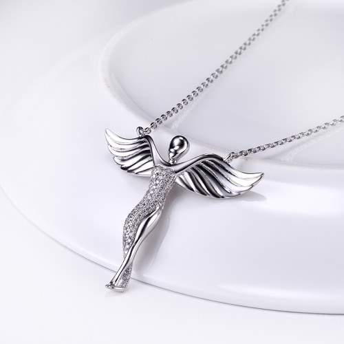 JURE S925 Solid Sterling Silver Chain Necklace The One Jewelry Zirconia Angel-shaped 18 Inch