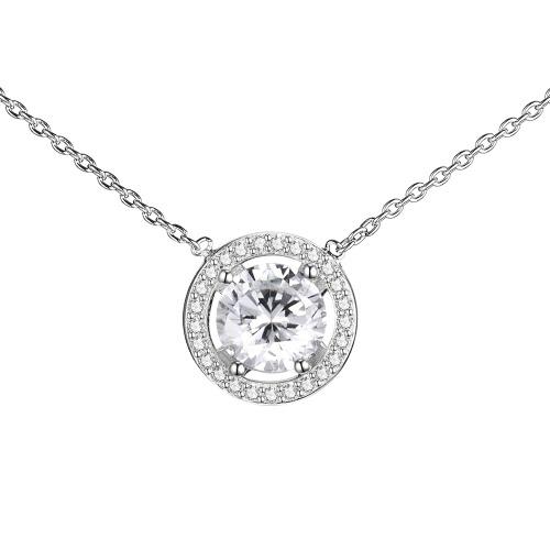 JURE S925 solide chaîne en argent sterling Collier Le One Bijoux zircon rond blanc 18 pouces