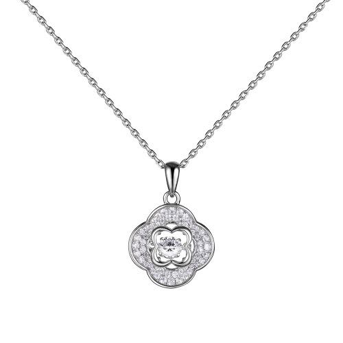 JURE moda S925 prata esterlina rotativo Zirconia faísca pingente em forma de flor Colar 18 polegadas
