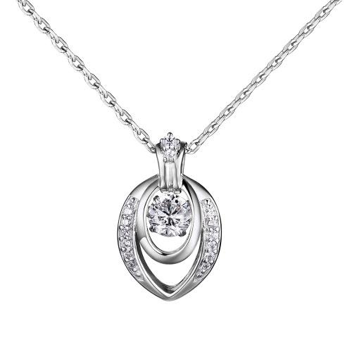 JURE moda S925 prata esterlina rotativo Zirconia faísca Colar Pingente de 18 polegadas