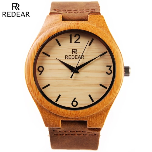 Redear gesunde natürliche Bambus Armbanduhr Tägliches Wasser-beständiges Einfachheit modische Mann-Uhr für Hochzeitstag