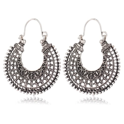 Euramerican Style Antique Silver Vintage Retro Bohemian Ethnic National Flavour U-Shaped Alloy Hollow Out Exagerado Carved Earrings Jóias Dangling Drop Ear Pingente Presentes para Mulheres Moda