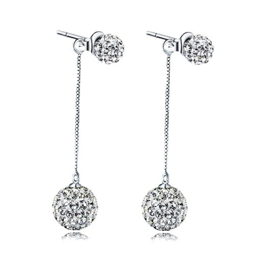 Women's Fashion Accessory 925 kolczyki srebrne Sterling Full Crystal Long Tassel Piękna Kolczyki