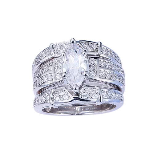 Fashion Jewelry Accessory Cut 925 Sterling Silver Crystal Ring Set para casamento de noivado amante