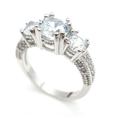Joyería popular de la manera 925 plata esterlina tres piedra esmeralda boda anillo piercing para las mujeres las niñas