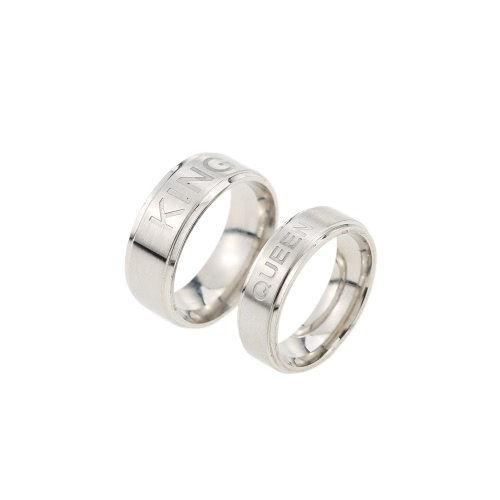 Anel KING Romântico Ring RAIN para Amantes Anéis Casais Presentes de moda Love You Anel de aço inoxidável
