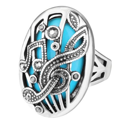 New Fashion Retro Oval Big Stone Ring Notação de música Carved Punk Gorgeous Vintage Jewelry