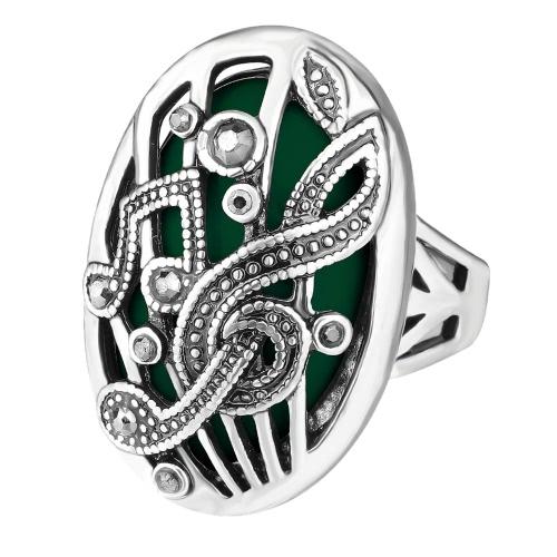 La nueva notación de música de piedra grande oval retra del anillo de la manera talló la joyería magnífica punky de la vendimia