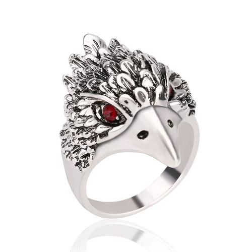 Art und Weise Retro- antiker silberner Finger-Ring-kühler Eagle-Kopf-Diamant-Ring für Männer Große Schmucksachen