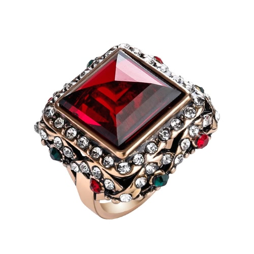 Fashion Retro Clear Square Stone Rhinestone Vintage Ring for Women Gift Gorgeous Jewelry