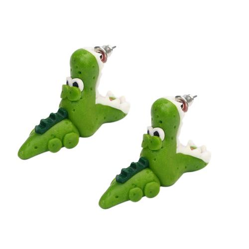 Art und Weise populäre Tierohrringe handgemachte Plastik-Lehm-Krokodil-Ohrring-Bolzen-Frauen-Ohrringe