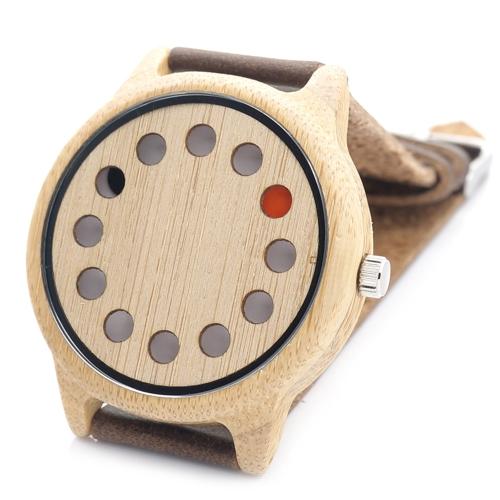 BOBOBIRD moda casual reloj de bambú unisex reloj de cuarzo cuero genuino reloj de madera hombres mujeres