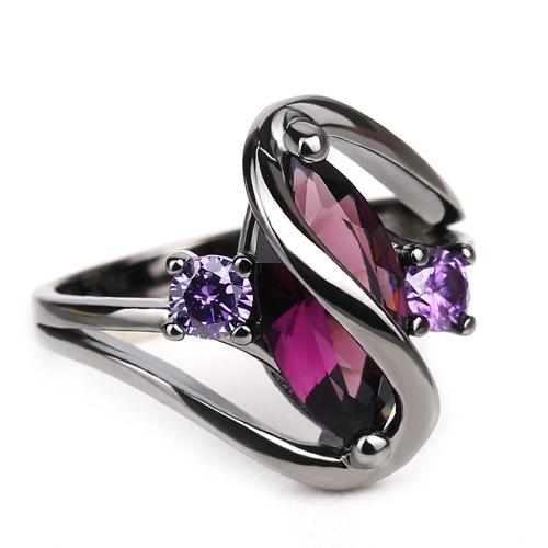 Europäische romantische populäre Saphir-Ringe schwarzes Gold überzogener Diamant-Ring-Modeschmuck-Zusätze