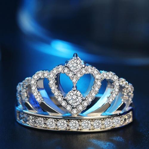 Coroa Inlay Anel de Diamante de Prata Moda Anéis De Cristal Jóias para Festa de Casamento Acessórios de Mulheres e Meninas