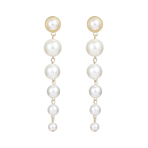 Fashion Simple Large Small Pearl Pendant Earrings Women Personality Temperament Jewelry