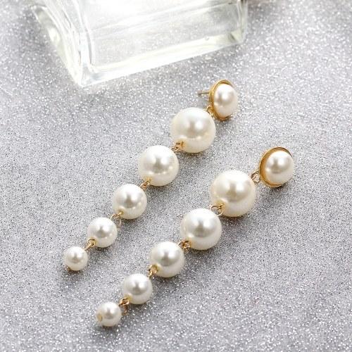 Mode einfache große kleine Perle Anhänger Ohrringe Frauen Persönlichkeit Temperament Schmuck