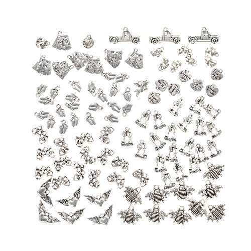 100pcs Ancient Silver Charms Pendants Diy For Jewelry Making And Crafting Alloy Accessories