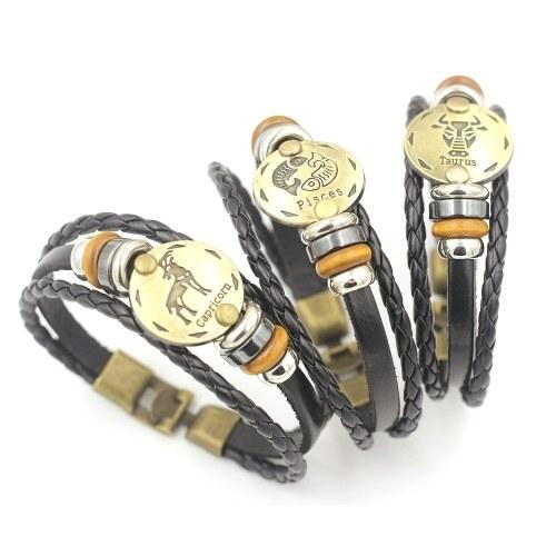 12 Созвездия Браслет Мода Ювелирные изделия Кожаный браслет Мужчины Случайная Личность Знаки зодиака Панк Браслет фото