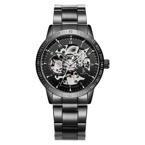 IK Colouring Tägliches Wasser-beständiges Edelstahl-Bügel-automatische mechanische Uhr Skeleton transparenten Hohl Armbanduhr