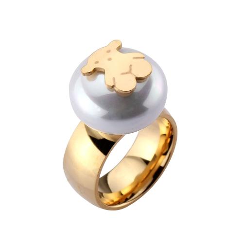 Kleiner Bär Ring Vacuum Plating Künstliche Perle Titan Stahl Modische Frauen Schmuck Dekorationen