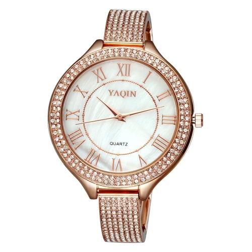 YAQIN zart glänzenden Strass eingebettete Armband Style einfachen römischen Ziffern Zifferblatt Luxus Elegant Armbanduhr für OL-Frauen-Girl