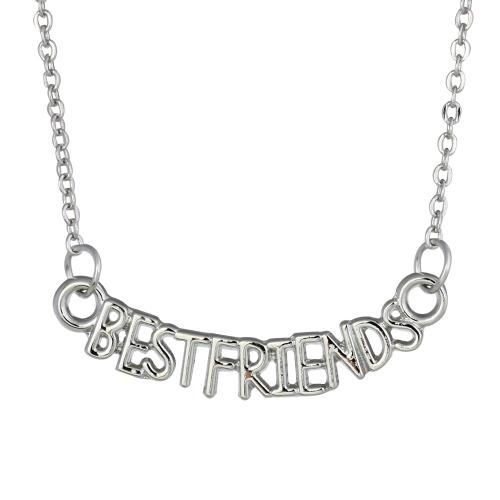 Plata 'mejores A amigos' clavícula cadena collar de bisutería personalizada regalo de joyería fina 45cm