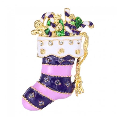 Feliz Navidad cristal Rhinestone calcetín media broche Vintage Collar lindo Pin bufanda hebilla decoración joyería año nuevo regalo para los niños de las mujeres