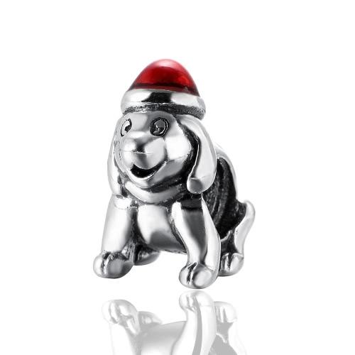 Romacci S925 Sterling Silber Welpen Hund galvanischen Bead emaillierte rot 3mm Glücksbringer Armband DIY feine Frauen Schmuck