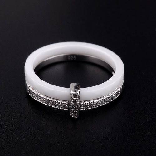 Nano Ceramic & S925 Sterling Silver with CZ Diamond Embedded White Gold Electroplated Polished Ring