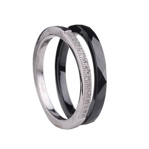 Nano cerámica y S925 plata esterlina anillo pulido con CZ diamante incrustado blanco oro galvanizado tamaño #6 #7 #8