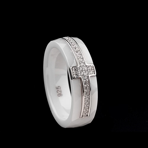 Polished Nano Ceramic Cross with S925 Sterling Silver & CZ Diamond Embedded White Gold Electroplated Ring
