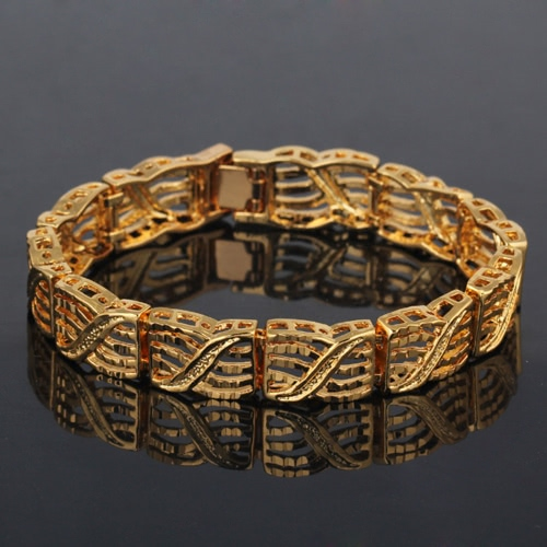 Persönlichkeit Punk Rock Style 18K Gold vergoldet Metall Link Hand Kette Armband Modeschmuck für Frauen Mädchen