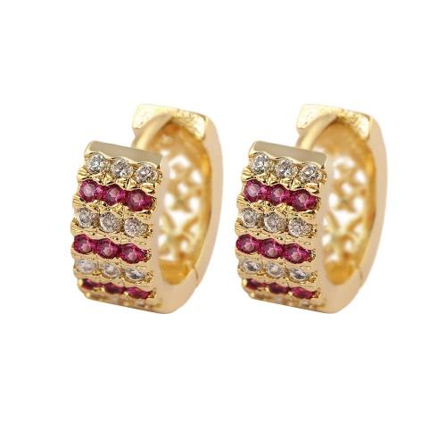 Mode luxuriös glänzenden 18 Karat Gold plattiert Crystal Zirkon Hoop Ohrringe Schmuck für Frauen Mädchen Braut Hochzeit Partei