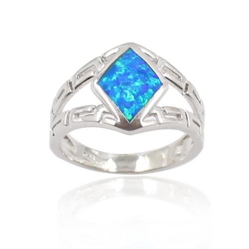 Plata de ley 925 rombo Opal simulado anillo mujer chica boda compromiso joyas accesorio manera